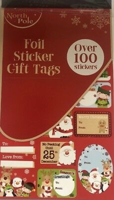 ** Christmas Foil Sticker Gift Tags Over 100 Stickers Cute Design Xmas New **
