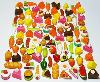 100 Dollhouse Miniature Mixed Food Set *Doll Mini Cakes Bakery Fruit Veg Lot z10