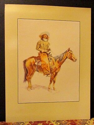 Vintage REMINGTON Print THE ARIZONA COWBOY on Horse Rockwell Museum Print 1988
