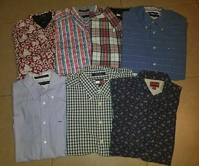 Lot of 7 Tommy Hilfiger Men's Casual Button Down Shirts Short Sleeve in size L
