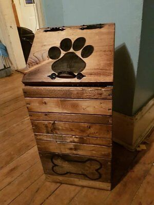 Dog Food Storage Container Wood Wooden Puppy Pet Home Dry Keeper Bin Handmade