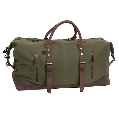 9ab47bf0b5e3 CANVAS DUFFLE BAG Travel Extended Stay Brown With Leather Accents ...