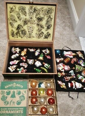 Vintage Glass Christmas Ornaments with Wooden Box