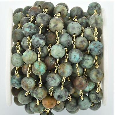 1 yd Matte Green AFRICAN TURQUOISE Gemstone Rosary Chain gold 8mm round fch1020a