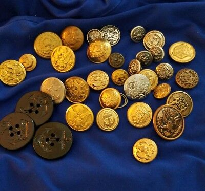 Vintage Large Lot Of 34 Military Style Assorted Brass Buttons