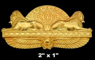 Vintage Brass Stamping / Sphinx, Winged Scarabs,Lotus  /Egyptian Revival  1 pc.