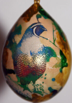 gourd Easter egg or Christmas ornament with quail