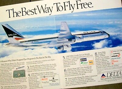 1988 Delta Airlines N604DL Boeing 757 Aircraft in flight photo Vintage Print Ad