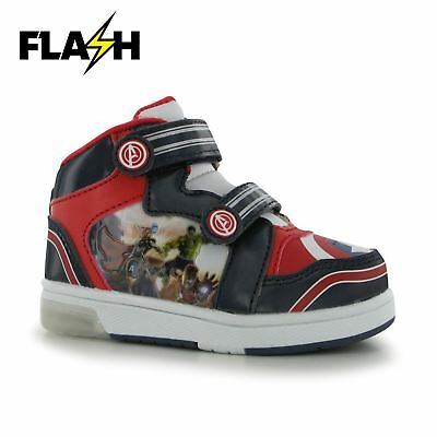 f13acfd1b8aa6 MARVEL AVENGERS LIGHT Up Flash Hi Top Trainers Infants Navy/Red Sneakers  Shoes