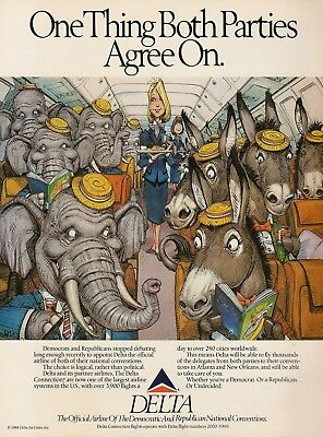 1988 Delta Airlines Republicans Democrats Agree elephant donkey Vintage Print Ad