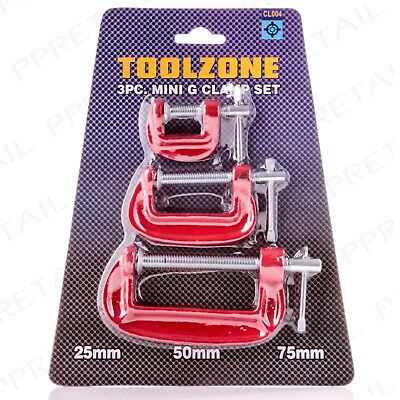 3Pc MINI G CLAMP SET 25mm/50mm/75mm Small Wood/Metal C Grip/Vice Hobby Hand Tool