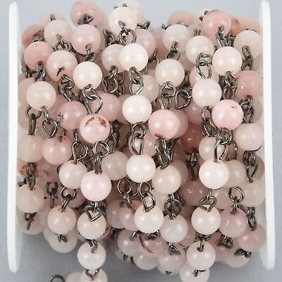 1 yard BLUSH PINK Agate Gemstone Rosary Chain, GUNMETAL 6mm round fch1022a