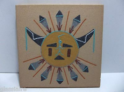 Navajo Native American Indian Sand Painting Signed J PEYTON