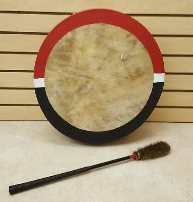 """Nice Hand Crafted 19"""" Rawhide Native American Indian Hand Drum & Drumstick"""