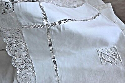 Pair French antique linen shams hand made lace hand embroidered mono JG GJ