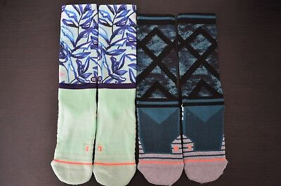 (2) Stance Women's Precision Crew Athletic Socks Sz Small, Mint Tree & Elastane