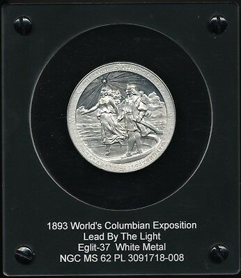 1893 Columbian Exposition Medal E-37 Lead By The Light MS62PL w/Original Box