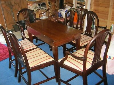 Georgian Hepplewhite Revival Mahogany Dining Chairs + Small Dining (Side) Table