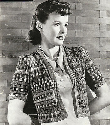 Vintage 1940s knitting pattern-how to make a cute odds & ends patterned jacket
