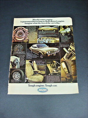 """Old 1975 ad ~ MAZDA RX-4 Hardtop with Rotary Engine ~ """"Tough engine ~ Tough car"""""""