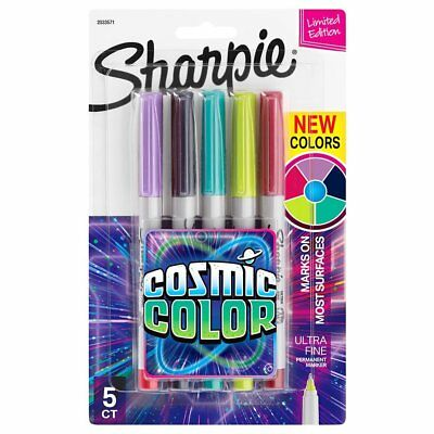 Sharpie Permanent Markers Ultra Fine Point Cosmic Color Limited Edition 5 pk