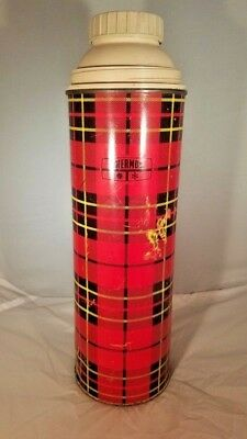 vintage 1973 plaid King Seely bottle Thermos jug cooler