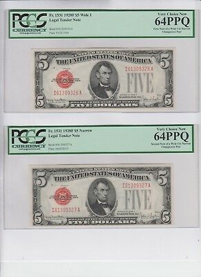 Legal Tender $5 Red Seal 1928-F Change over pair PCGS graded new 64-64PPQ