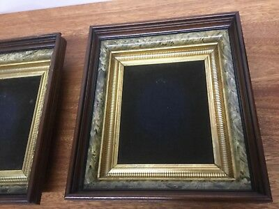 Matching Pair 2 Antique EASTLAKE Gold Gilt Victorian Deep Walnut Picture Frames