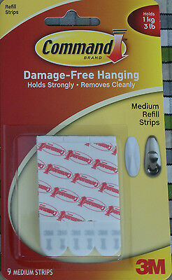 9 pack 3M Command Strips Medium Damage free refill replacement picture poster