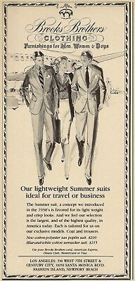 1988 Brooks Brothers Clothing summer suits Illustrated Vintage Print Ad