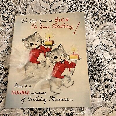 Vintage greeting card birthday sick cute cat kitten norcross feather vintage greeting card birthday sick cute cat kitten norcross feather m4hsunfo