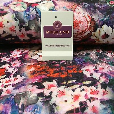 "Purple Multi Floral Printed Cotton Jersey Dress fabric 55"" Wide MK923-9 Mtex"