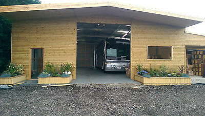 Caravan Storage, Shelter, Cedar Clad Building Industrial Roller Doors Apex Slope