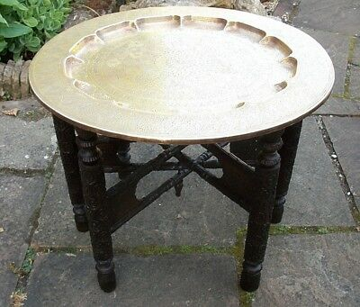 Antique Rosewood  Indian Fully Carved Folding Side Table With  Brass Top
