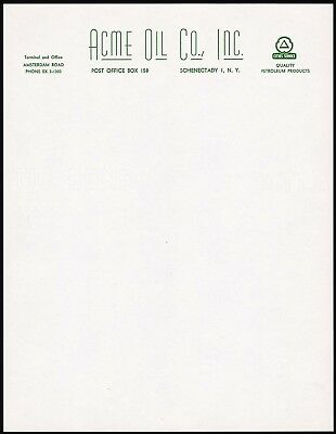Vintage letterhead ACME OIL CO with Cities Service logo Schenectady New York