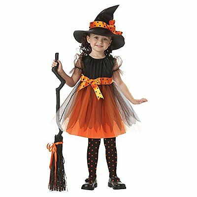 Halloween Kids Girls Witch Costume Outfit Cosplay Party Fancy Dress Clothes+Hat