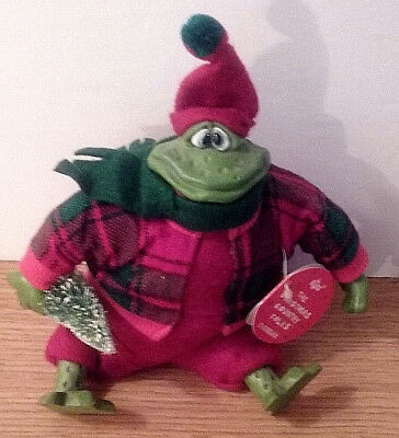 Christmas Frog EVERBEAN with Tree Russ Berrie Kathleen Kelly Critter Factory