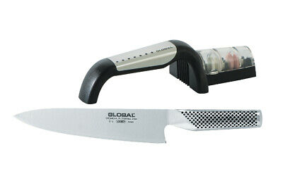 NEW Global 2 Piece Chef Knife and Sharpener Set