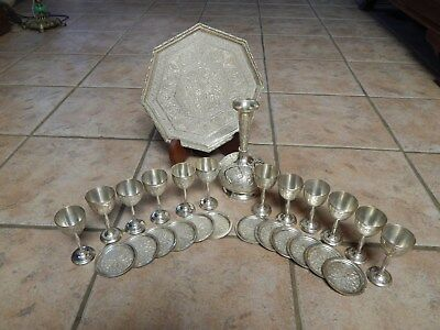 Antique  Persian Islamic Hand Chased 26 Pc  Drinking Set 1.815 Grams
