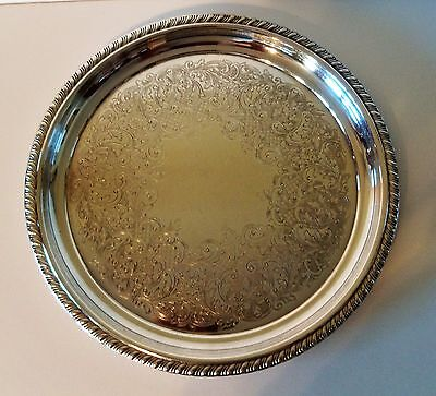 """Wm Rogers Silverplate Serving 10""""  Round Tray #870 Braided Rope Edge, Etched"""