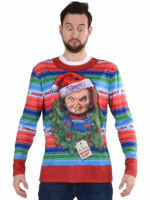 FAUX REAL MENS Naughty Chucky Santa Ugly Christmas Sweater