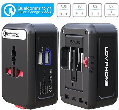 QC3.0 Fast Charger,Worldwide Travel Adapter, LOVPHONE Universal All in One