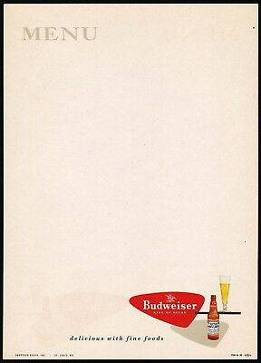 Vintage menu BUDWEISER King of Beers bottle pic Anheuser Busch St Louis n-mint+