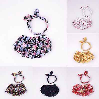 2pcs Newborn Baby Girls Ear Headband+Ruffle Shorts Pants Bloomers Diaper Cover