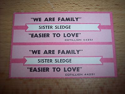 "2 Sister Sledge We Are Family / Easier To Love Jukebox Title Strips CD 7"" 45RPM"