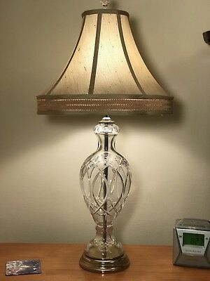 Vintage Used Ethan Allen Cut Glass Crystal Table Lamp