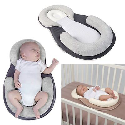 Newborn Infant Baby Pillow Prevent Anti Roll Flat Head Pillows Sleep Support UK