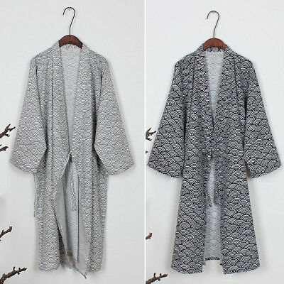 Men Kimono Yukata Pajama Cotton Soft Japanese Bathrobe Robe Gown Nightwear Solid