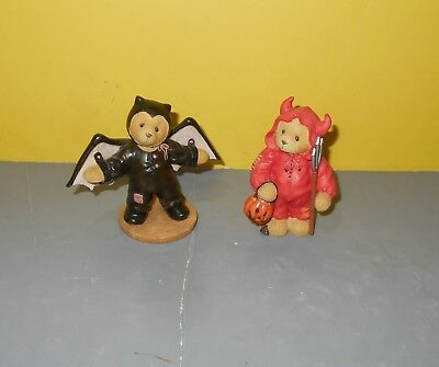Cherished Teddies Beary Figurines Icabod - Trevor the Devil & Barry the Bat