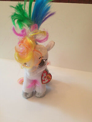 Authentic New w/ tags Ty Beanie Boo Starr the White Pony Horse 6 inch US SELLER